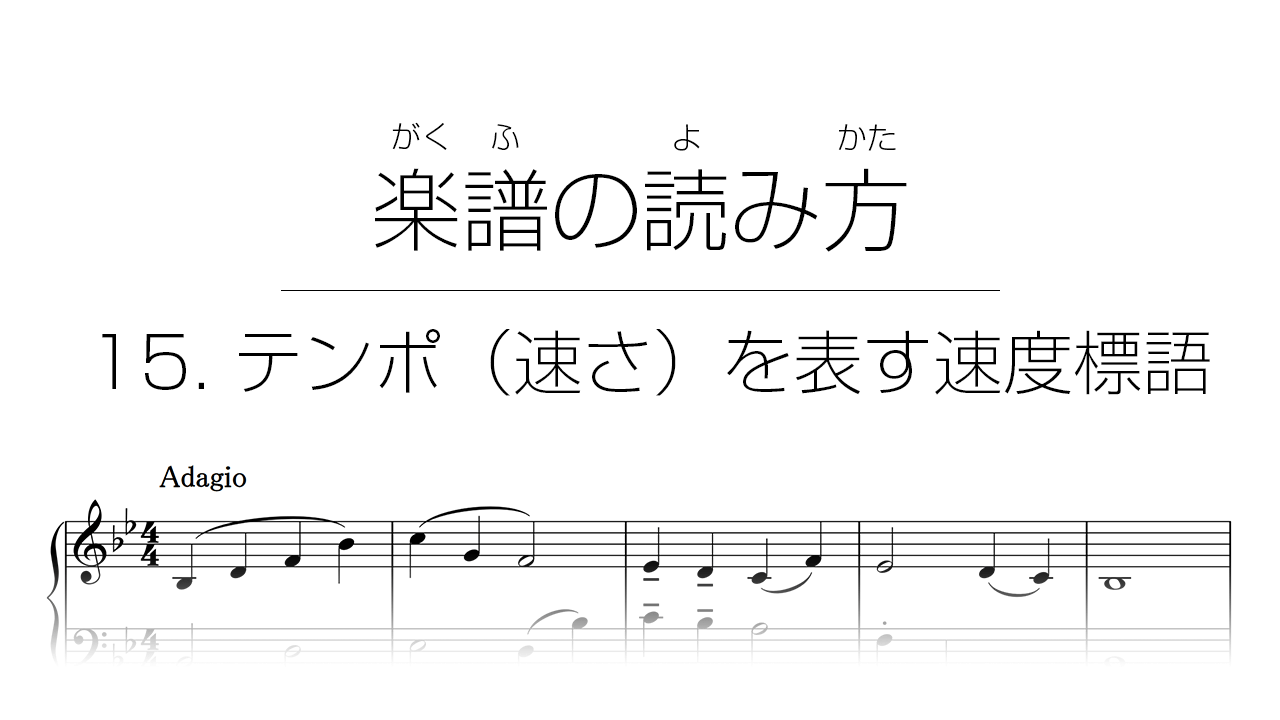 初心者でもわかる楽譜の読み方 | 15. テンポ(速さ)を表す速度標語
